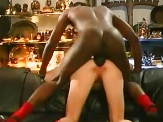Brunette slut with small tits gets huge black dong up her tight ass