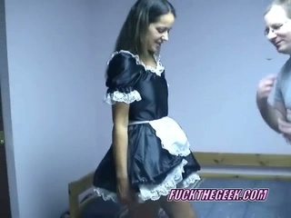 Lascivious maid maria lifting her petticoat and riding geek sweet knob