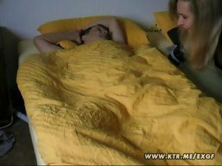 Blonde wife wakes up her husband with a priceless morning blowjob