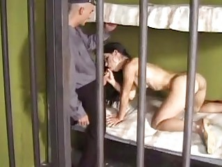 Tempting dark brown beauty gets hard cock up her constricted wazoo in prison