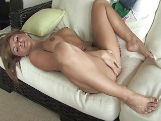 Patricia naughty redhead girl fingering vagina on the ottoman