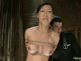 Oriental sweetheart Tia Ling acquires her lucious tits and steamy cunt teased while tied up