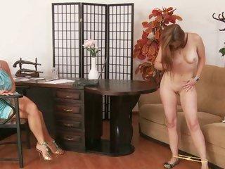 Sylvia Saint watches this slut strut her sexy stuff
