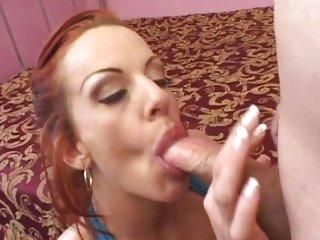 Sexual redhead Shannon Kelly gobbles down a hard boner