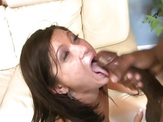 Dripping wet CeCe Stone swallows down some nut juice