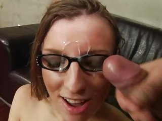 Alluring Morgan Moon receives splattered with shlong milk