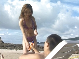 Hot Asian Babe Mami Gets Fucked and Facialized on the Beach