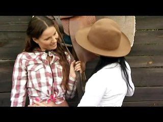 Lesbian Cowgirls Claudia Rossi and Simonne Style Fuck In Threesome