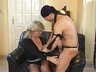 Blonde Milf in Fishnet Stockings Fucks