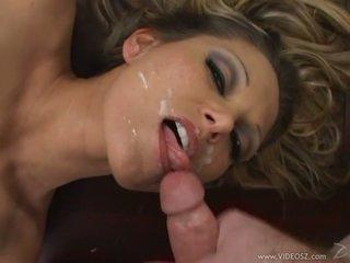 Cum loving Anna Nova gets her face splattered with cum