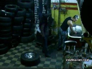 Mechanic pulls panties aside and fucks latina GF