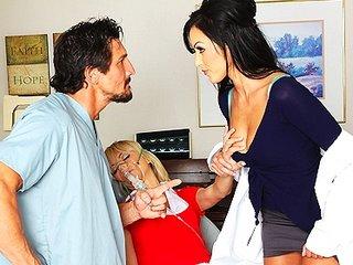 Hawt Dr. Benson, a nympho dentist, fucks assistant & his fiancee