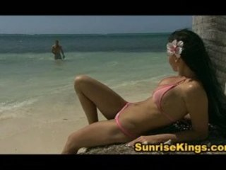 Hot biking girl fucked on the beach and eats cum