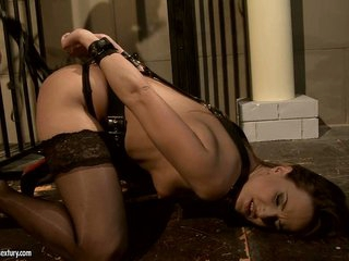 Andy Brown get her body bound with lots of belt