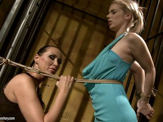 Mandy Bright tie a rope to white golden-haired in sexy costume