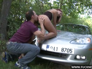 A Fortunate Stranger shagging unfathomable on car bonnet