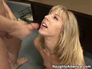 Jizzem guzzling bitch Chastity Lynee takes a huge load on her face