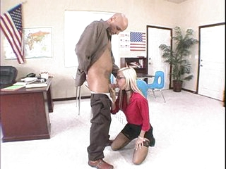 Blonde chick Christine Alexis gets her face hole screwed by some monster meat