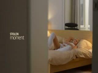 Unique golden-haired model rubbing the love button