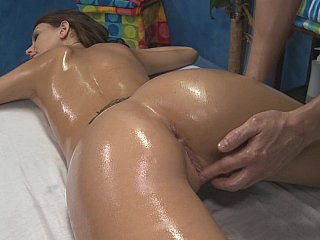 Massaging Katie's ass and pussy