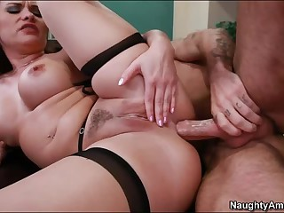 Professor Katja Kassin is a sexy redhead with big tits. Alan Stafford offers his stiff dick to her and she opens her legs. Busty Katja Kassin gets licked and gives nice blowjob before he fills her anal tunnel.