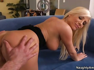 Silky haired beautiful blonde Tasha Reign with big tits has sex fun with her boyfriend's hot son. She deepthroats his rock solid dick eagerly and then finds it in her smooth pussy.