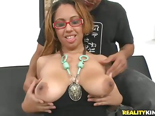 Man warms up ebony Anjelyze by playing with her big naturals. Then chocolate slut Anjelyze gives headjob. shows off her buns and jumps on cock. Dark skinned breasty Anjelyze proves that she's good when it comes to sex.