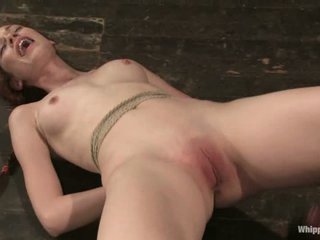 This a behind the scenes video with red-haired BDSM model Justine Joli. Shes' a charming girls that gets her small tits and shaved pink pussy punished by mistress in her last scene for Whipped Ass.
