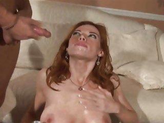 Jizz junkie Roxetta gets drenched in warm jizz
