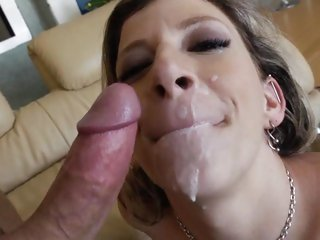 Soaking wet Sara Jay gets splashed in cock sauce