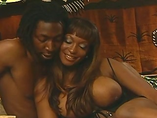 Gigantic ebony boobs meets big black cock