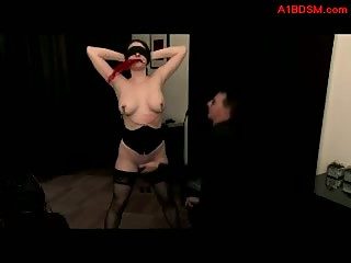 Blindfolded Girl Getting Her Nipples Tortured With Clips Whipped By Master In The Room