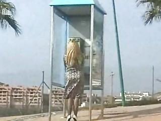Slut MILF Flashes Stockings In Public