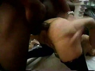 Huge black dick rams her ass in kitchen
