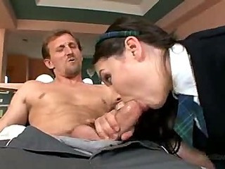 Horny brunette schoolgirl Rikki having sex (Try something different » Free)