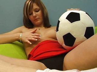 Sporty girl masturbating