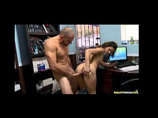 This latin babe gets nailed right on top of her office desk.