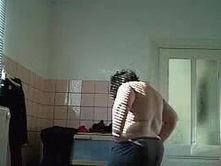 my wife in bathroom