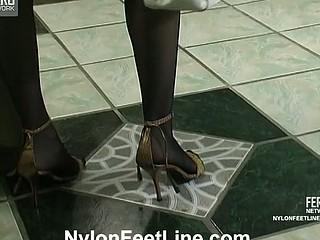 Katrine&Nicholas nylon footfuck action