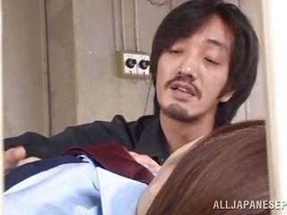 horny japanese officer sucking the gun