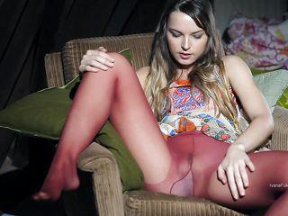 milf masturbates in the attic with a glass dildo