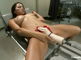 gorgeous latina loves getting her pussy examined at this mechanical doctor!