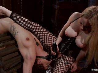blonde mistress giving intense anal training to her obedient slut