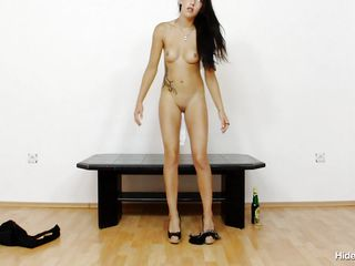 brunette chick and a pair of pantyhose in her tight shaved vagina