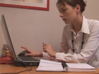 Gorgeous secretary is giving blowjob to her boss in the office