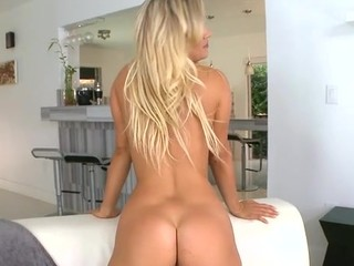 Beauty tanned blonde lady is getting seduced and fucked in a hard core way