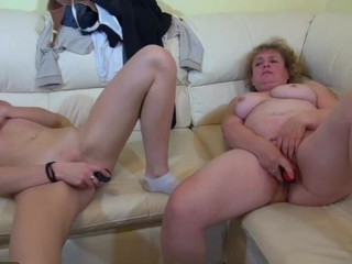Old chubby Granny masturbate with marital-device