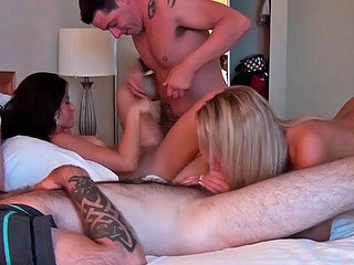Three pretty gals sucking dicks and being very nicely drilled