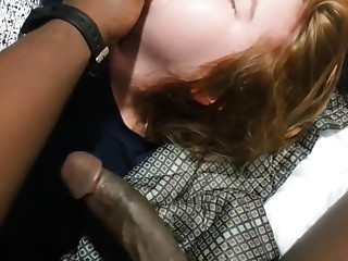 Submissive redhead whimpers  and gags ending with facial