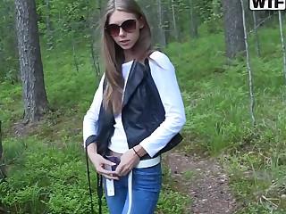 Naughty Megan sucks her boyfriend's dick in the woodland